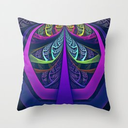 An UltraViolet Black Light Rainbow of Glass Shards Throw Pillow