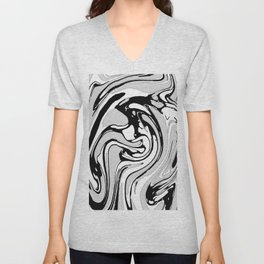 Black, White and Gray Graphic Paint Swirl Pattern Effect Unisex V-Neck
