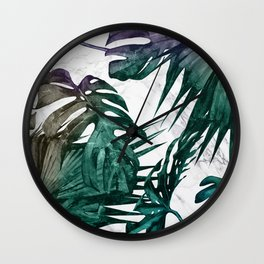 Tropical Palm Leaves on Marble Wall Clock