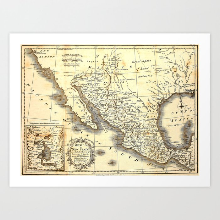 vintage map of mexico art print by foxxmap society6