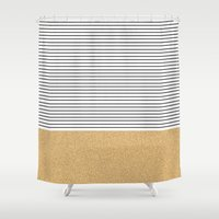 gold glitter Shower Curtains featuring Minimal Gold Glitter Stripes by Allyson Johnson