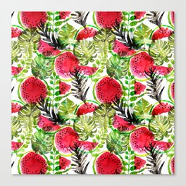 Summer watermelon and palm leaves watercolor pattern Canvas Print