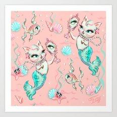 Merkittens with Pearls on blush Art Print