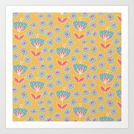 Walk in the meadow - blue3 Art Print