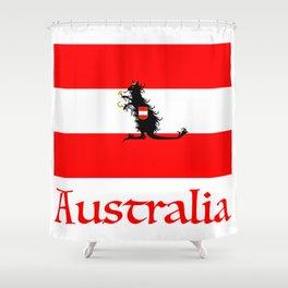 Australia - Kangaroo on Austrian Flag Shower Curtain