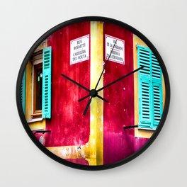 Rue Rossetti et Rue De La Condamine in Vieux Nice Wall Clock