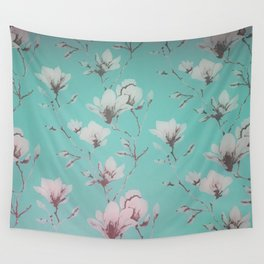 Floral Wallpaper Mint Wall Tapestry