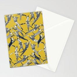 dog party indigo yellow Stationery Cards