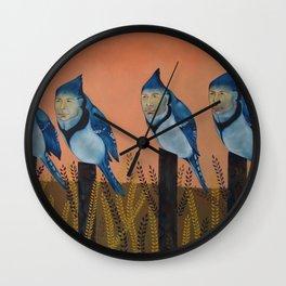 Blue Birds and Barley  Wall Clock