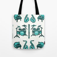 the mortal instruments Tote Bags featuring Jazz instruments by what the ostrich