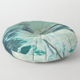 Under Tow on a Moonlit Night nautical landscape ocean painting by Julius Olsson Floor Pillow