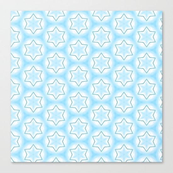 Shiny light blue winter star snowflakes pattern Canvas Print