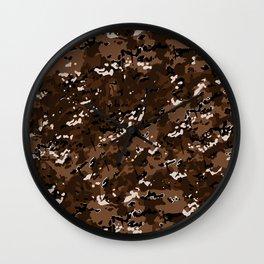 Chocolate Brown Popular Multi Camo Pattern Wall Clock