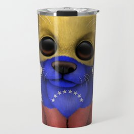 Cute Puppy Dog with flag of Venezuela Travel Mug