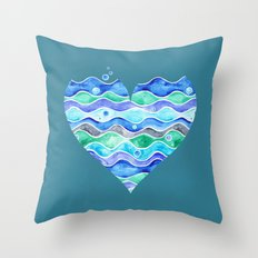 A Sea of Love (blue) Throw Pillow