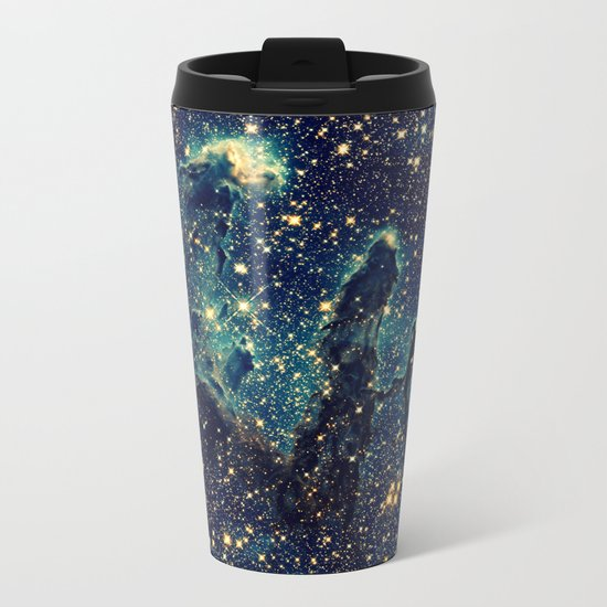 GalaxY  Teal Blue & Gold Metal Travel Mug