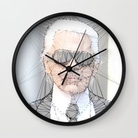 karl lagerfeld Wall Clocks featuring ICONS: Karl Lagerfeld by LeeandPeoples