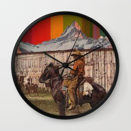 Rainbow Mt. Cowboy Wall Clock