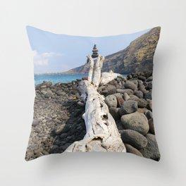 Rocks, Balanced at the Beach Throw Pillow