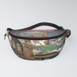 Dogs Playing Poker A Friend in Need Painting Fanny Pack