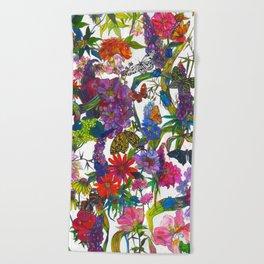 Botanical Butterflies Beach Towel