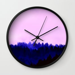Blusing Twilight - over the forest Wall Clock