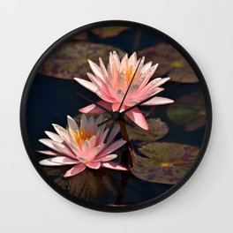 Two Pink Lillys Wall Clock
