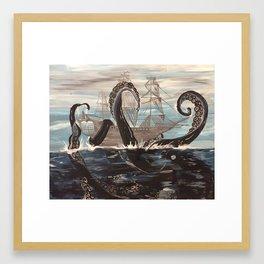 Ghost Ship Vesus Sea Monster! Framed Art Print