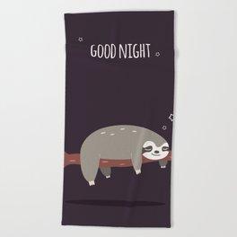 Sloth card - good night Beach Towel