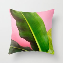 Banana Palm Leaves Pink Background Throw Pillow