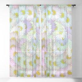Daisy swirl - pastel Sheer Curtain
