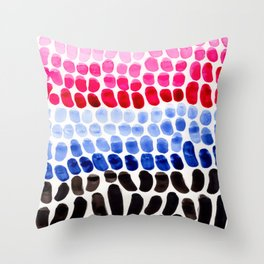 Cold Blue Magenta Colorful Primitive Pattern Watercolor Scales Abstract Throw Pillow
