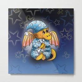 Sweet baby dragon wearing pyjamas  Metal Print