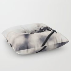 Black and White Flowers Floor Pillow