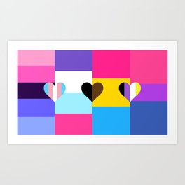 Omniseual/Multisexual/Pansexual/Bisexual Quilt Love Flag Art Print