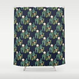 Dark Cactus Desert Shower Curtain