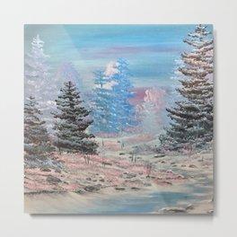 Winter calm-along the creek Metal Print
