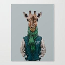 the giraffe in jacket. Canvas Print