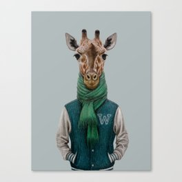 the giraffe in jacket. Canvas Print