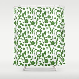 Vintage Christmas Ornaments in Green on White Shower Curtain