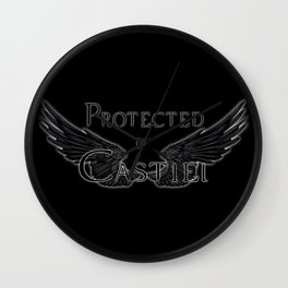 Protected by Castiel Black Wings Wall Clock