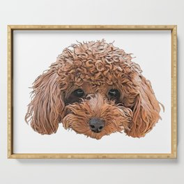 Dog Toy Poodle Barbet confusing autumn bush bust Serving Tray