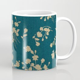 Gold Green Blue Flower Sihlouette Coffee Mug