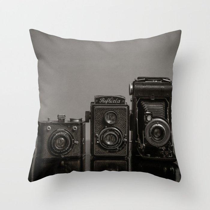 Vintage Cameras - Black Grey Throw Pillow