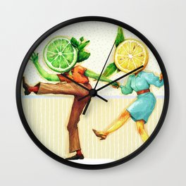 Lemon & Lime Swing Dancers - by Claire Deberle Wall Clock
