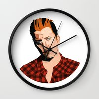 queens of the stone age Wall Clocks featuring Josh Homme, Queens of the Stone Age, Vecto by Morgane Dagorne