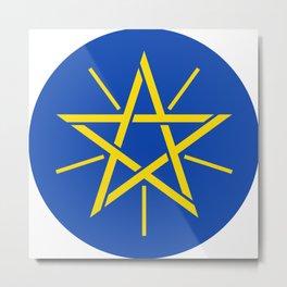 Ethiopian Flag Emblem Pentagram Wicca Metal Print