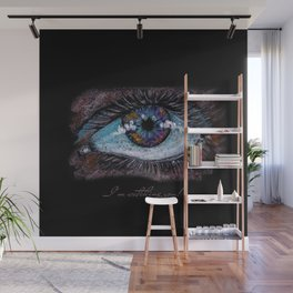 I'm watching you. Big green eye. Oil pastel on black background Wall Mural