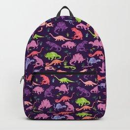 Purple Pink Watercolor Dinosaur Silhouette Pattern Backpack