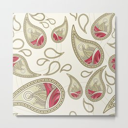 Pink and Tan Paisley Pattern Metal Print